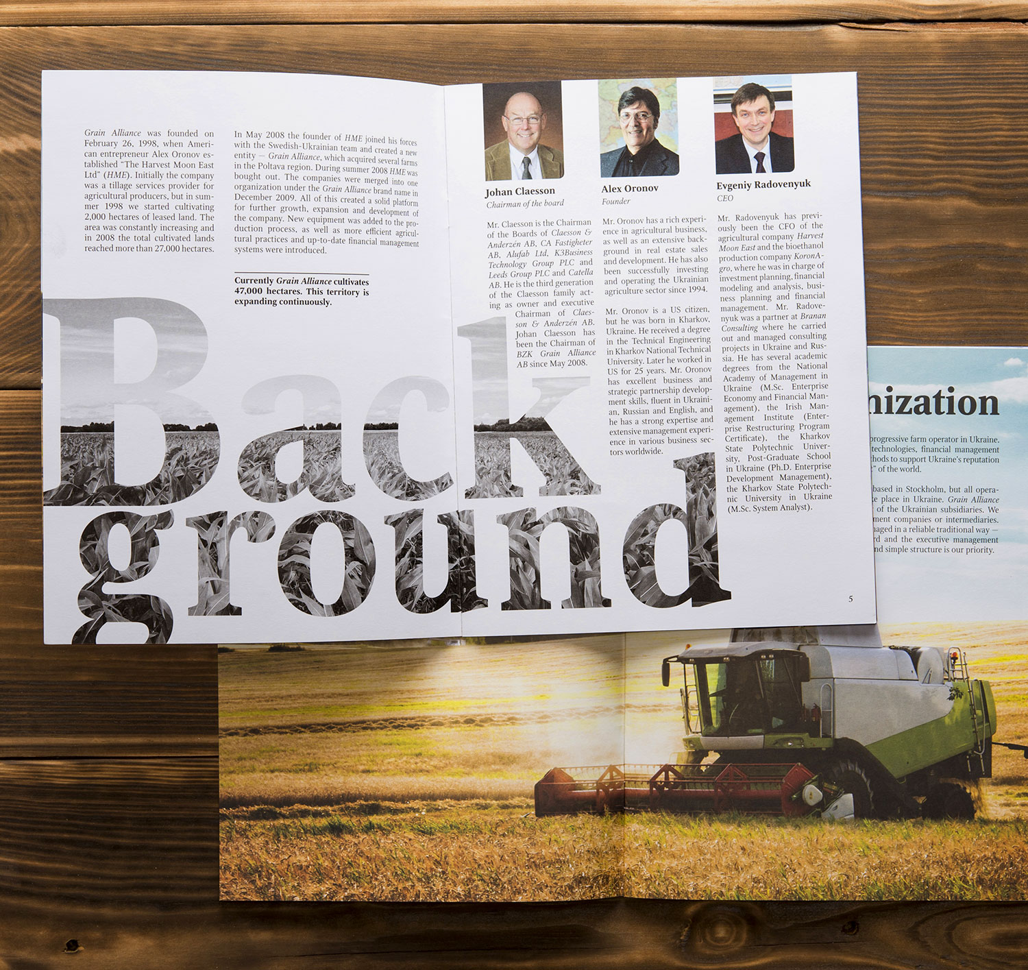 Brochure of Grain Alliance, agricultural producer. Background.