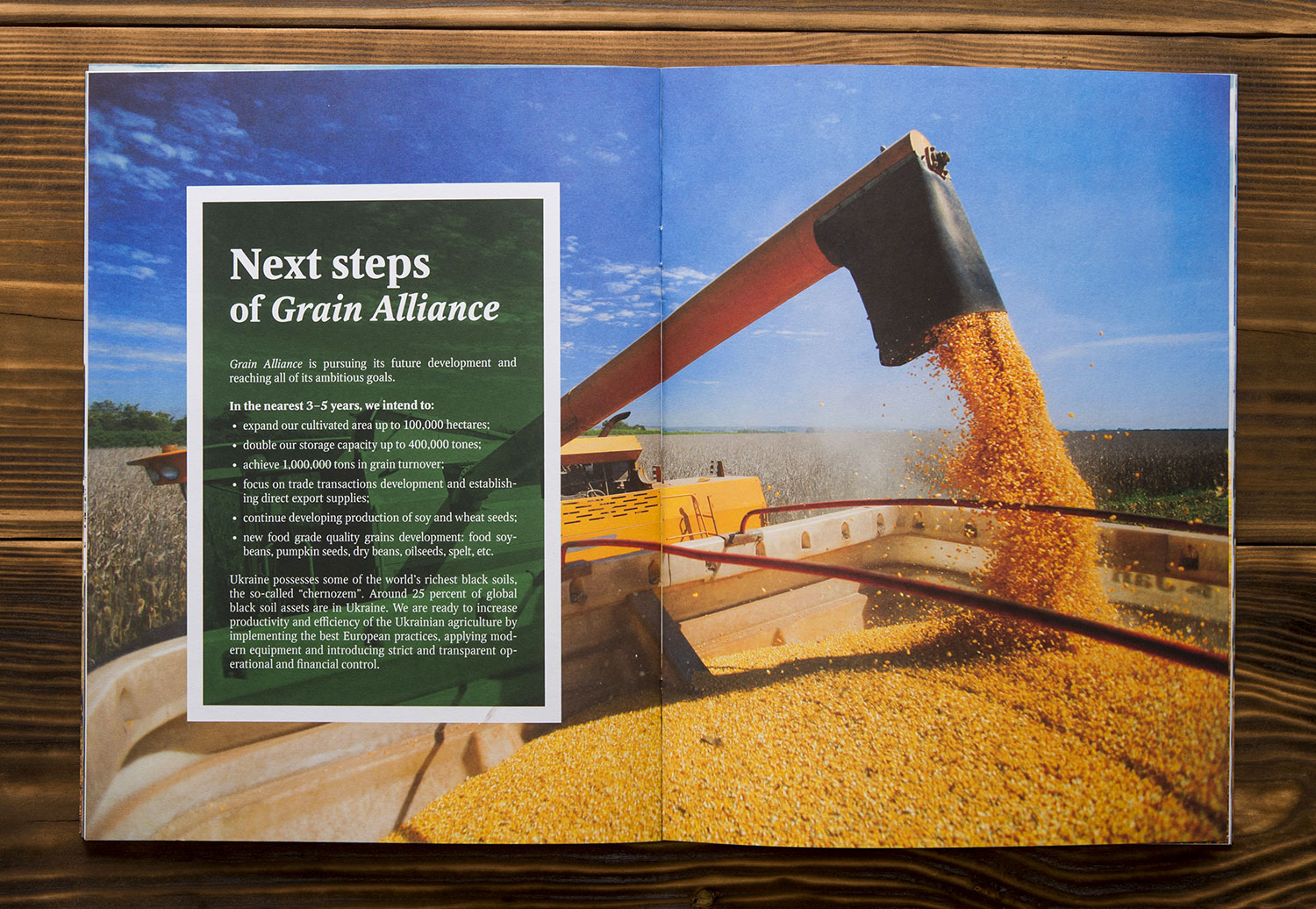 Brochure of Grain Alliance, agricultural producer. Next steps.