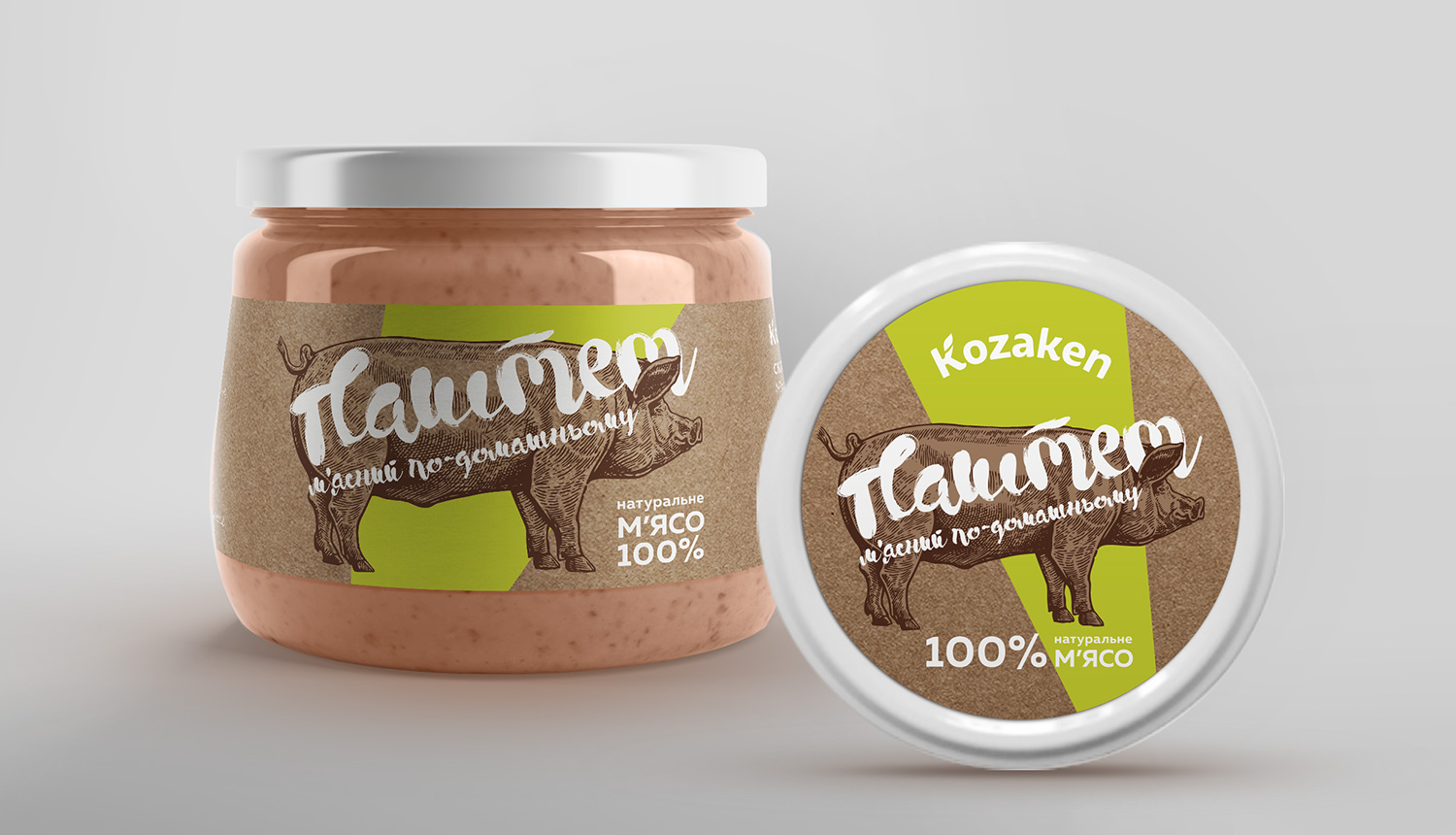 Kozaken Meat Pate Label. Craft design. Eco.