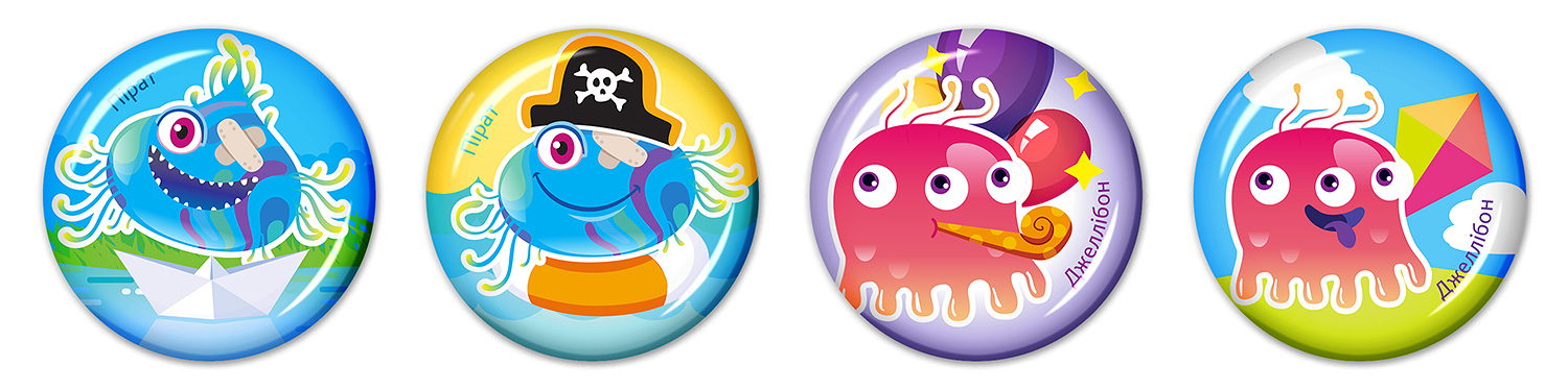 Epoxy resin stickers for children (3D stickers for kids). SYNEVO. Microbes in summer. Pirate and Jellybone.