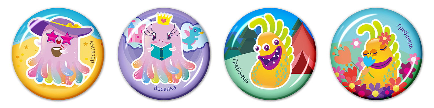Epoxy resin stickers for children (3D stickers for kids). SYNEVO. Microbes in summer. Rainbow and Comb.