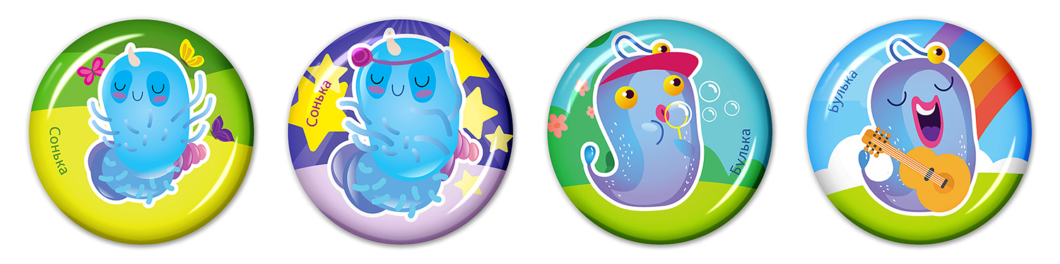 Epoxy resin stickers for children (3D stickers for kids). SYNEVO. Microbes in summer. Sleepy and Bubble.