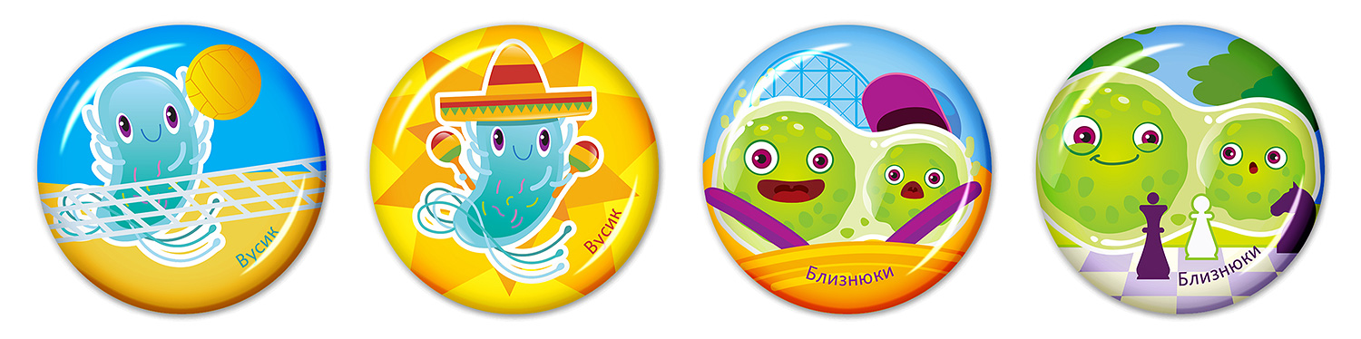 Epoxy resin stickers for children (3D stickers for kids). SYNEVO. Microbes in summer. Tendril and Twins.