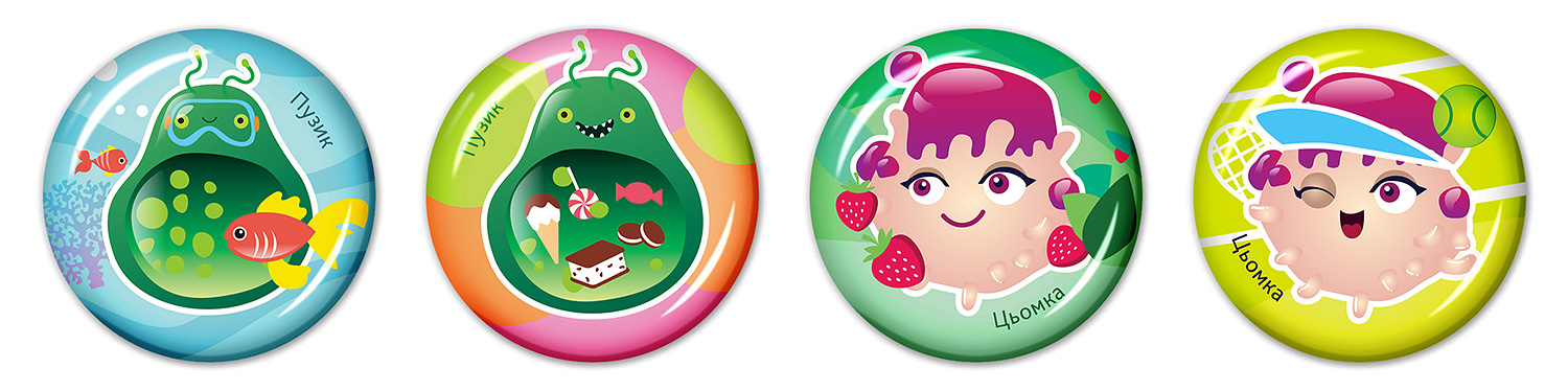 Epoxy resin stickers for children (3D stickers for kids). SYNEVO. Microbes in summer. Tummy and Kissy.