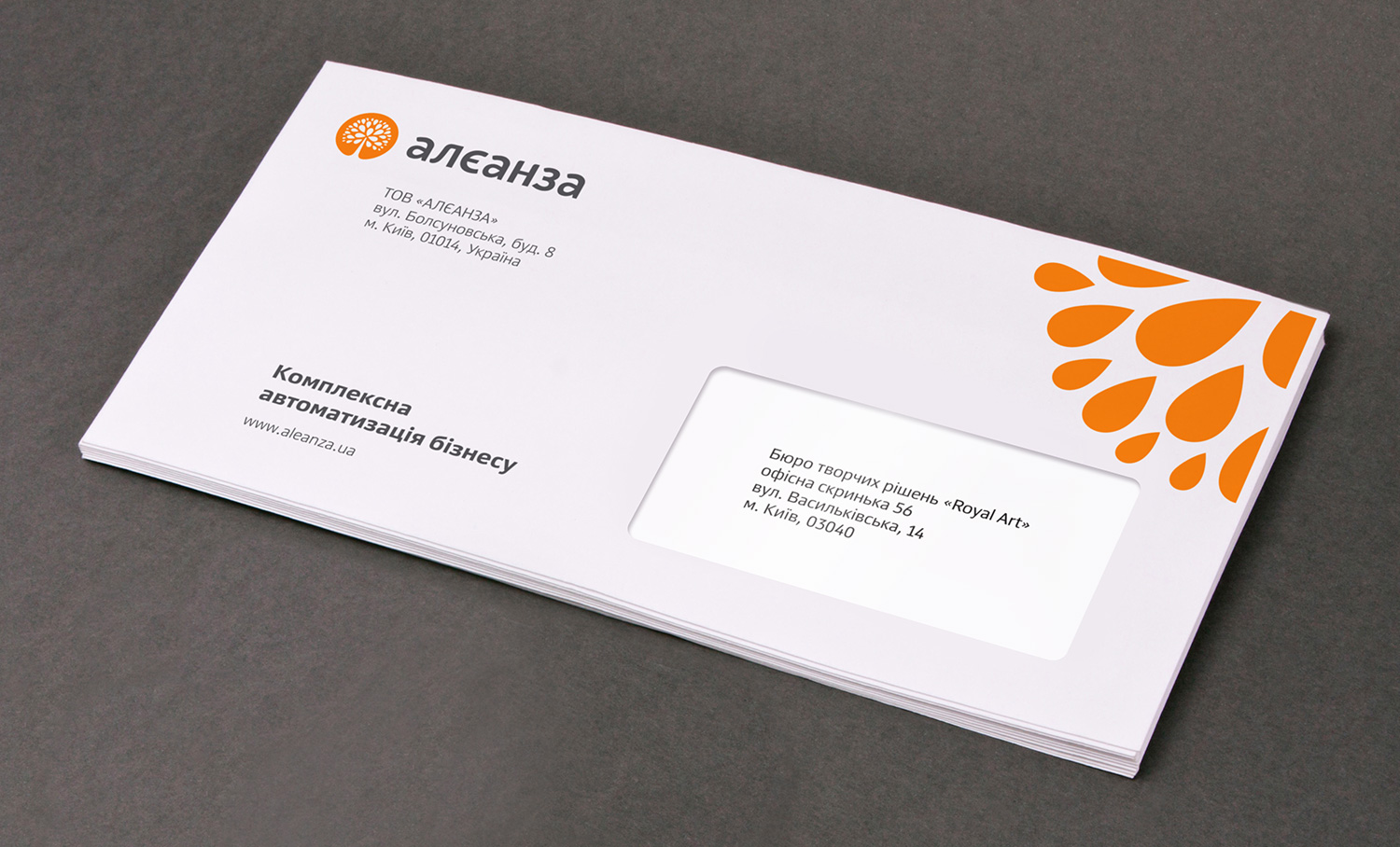 Envelope design. Euro envelope, E65, DL. ALEANZA corporate envelope.