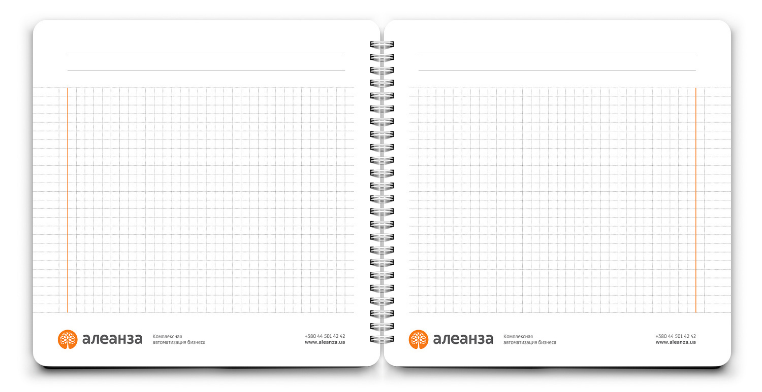 Notepad page design. ALEANZA spiral notepad. Two-page spread.