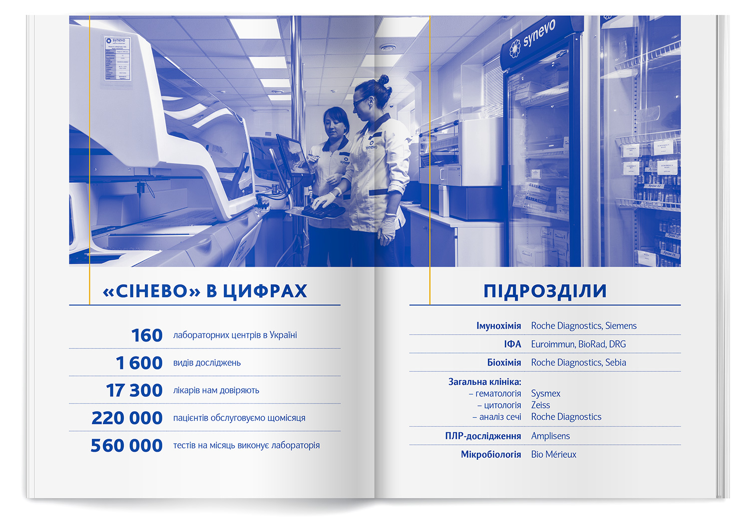 SYNEVO laboratory in numbers. Departments (sections) of the medical laboratory. The information spread inside the price list.