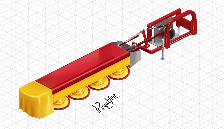 Косарка. Ізометрична ілюстрація для сайту AAT. Прогресивні аграрні технології.
