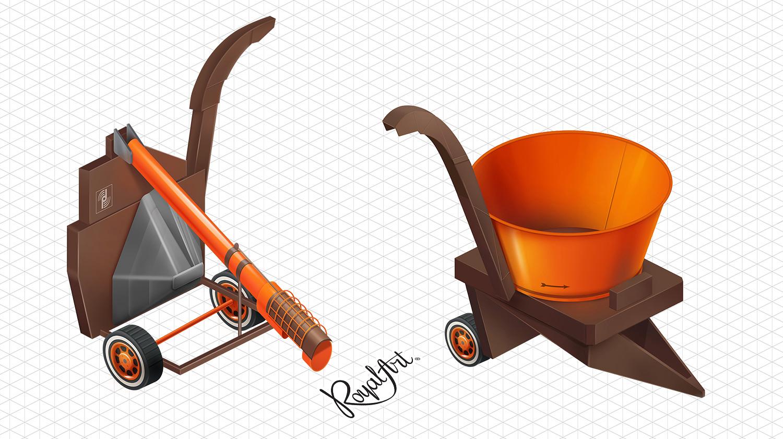 Дробарка для зерна і подрібнювач соломи. Ізометричні ілюстрації для сайту AAT. Прогресивні аграрні технології.