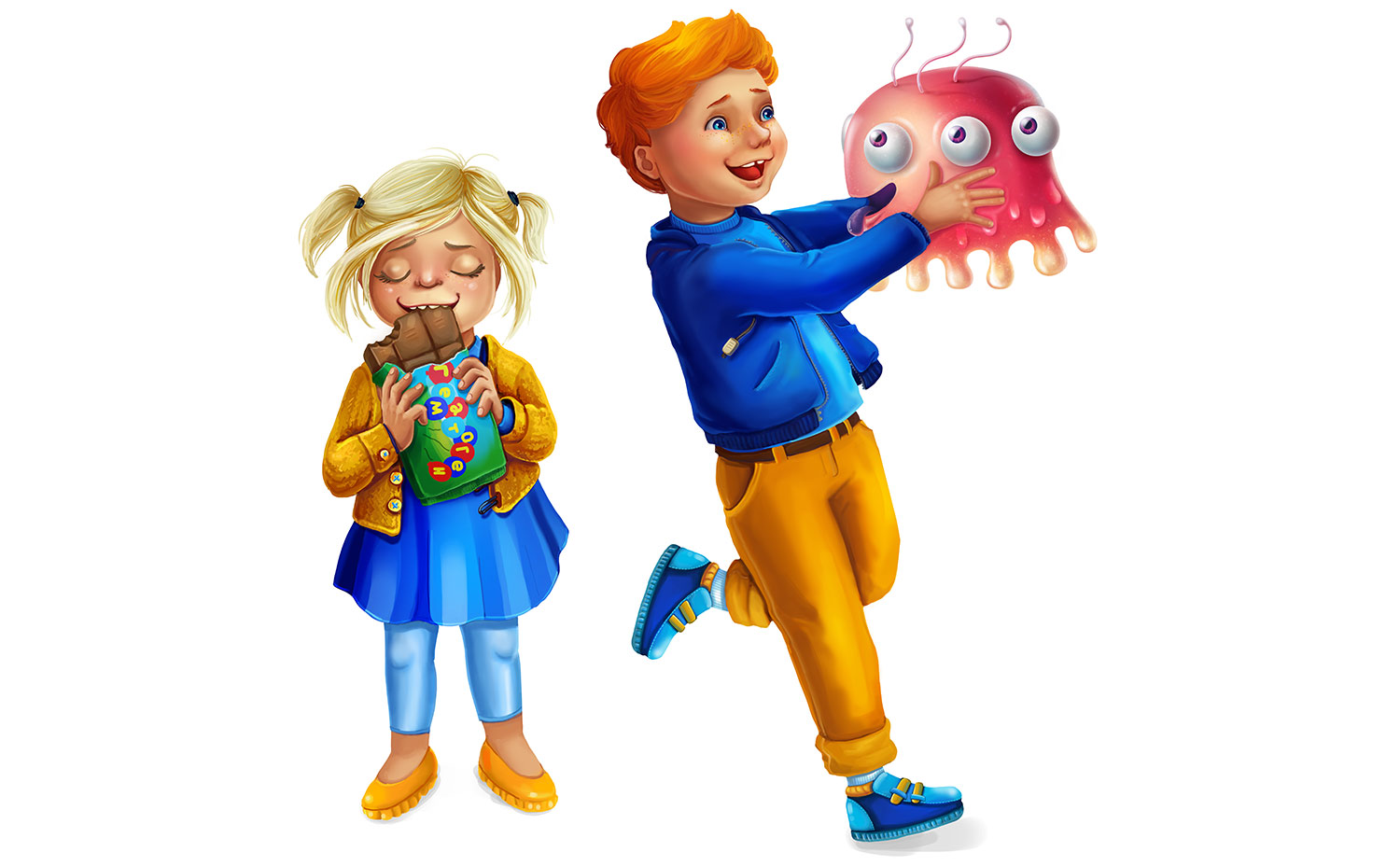 The children's illustration for the interior decor of children's laboratory center SYNEVO. A girl with a Hematogen bar. A boy with the microbe Jellybone.