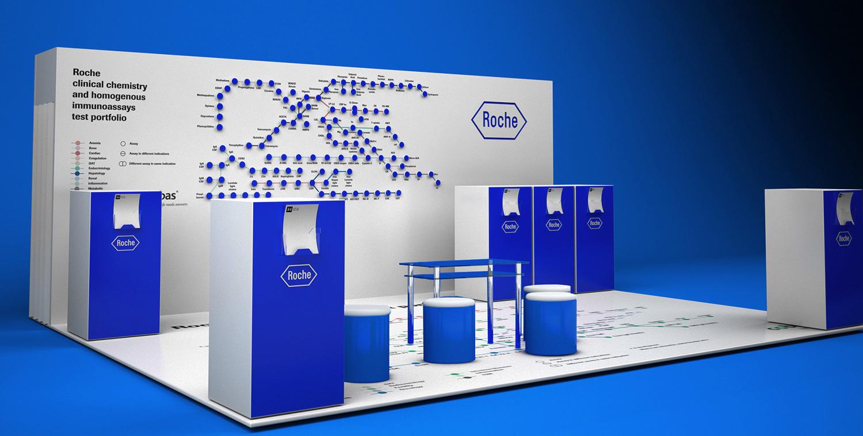 Выставочный стенд Roche Diagnostics. Cobas. 3D визуализация. 3Д модель. Дизайн выставочного стенда. Медицинский лабораторный стенд. Рош.