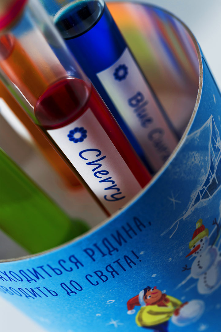 Test tubes with multi-colored alcohol from the medical laboratory SYNEVO. Fruity alcohol.