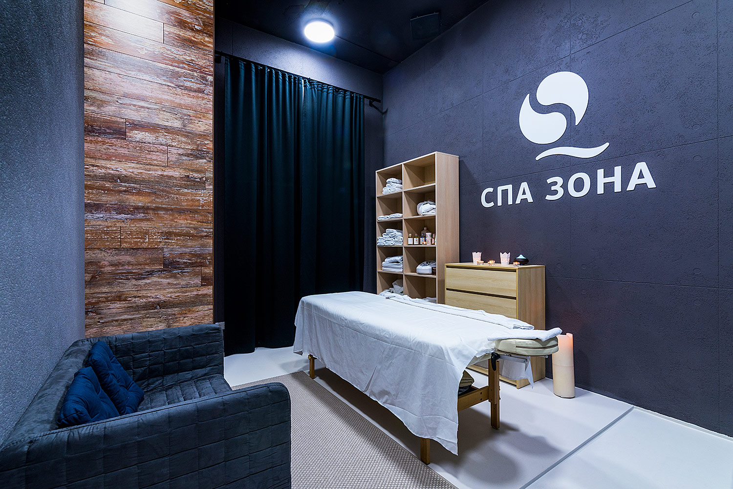 Branded SPA area in the SQLAB clinic. Acrylic white logo on the wall and acrylic letters.