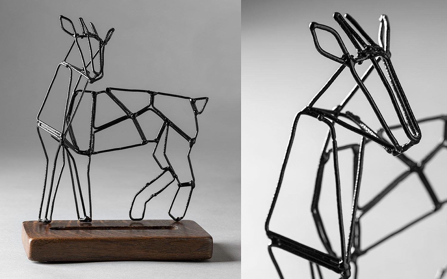 Handmade paper stand in the shape of a goat. Wooden base and metal goat. Polygonal figure made of metal bars.