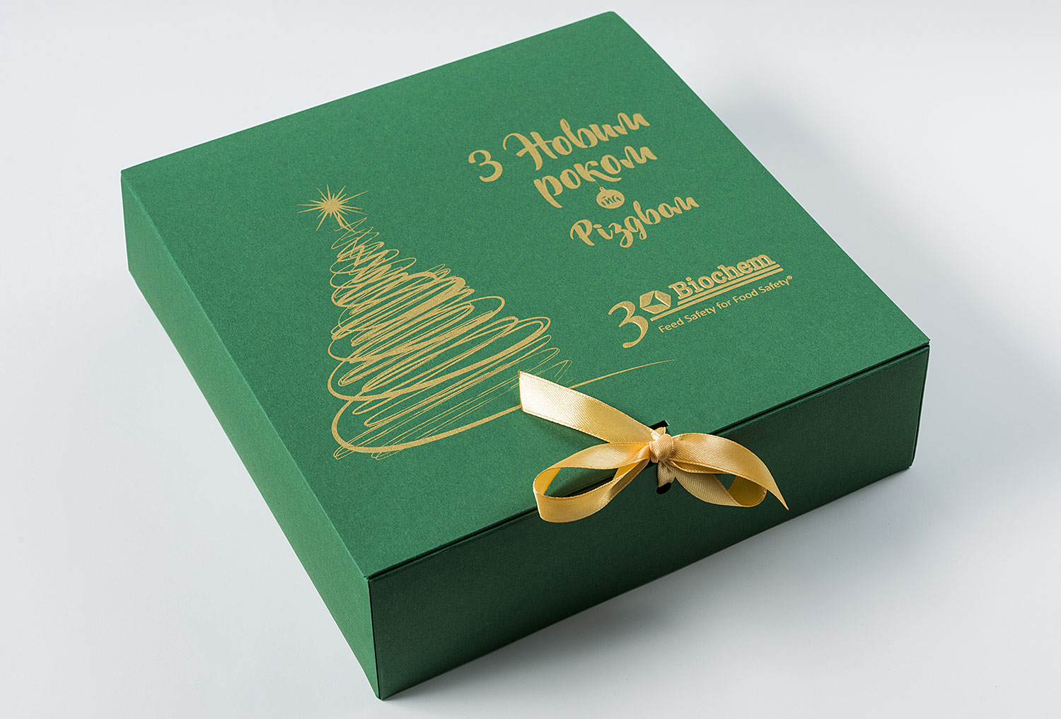 Gingerbread box made of designer cardboard. Box with a golden bow from a ribbon. Green cardboard and screen printing in gold (bronze). New Year's gift of Biochem Ukraine.