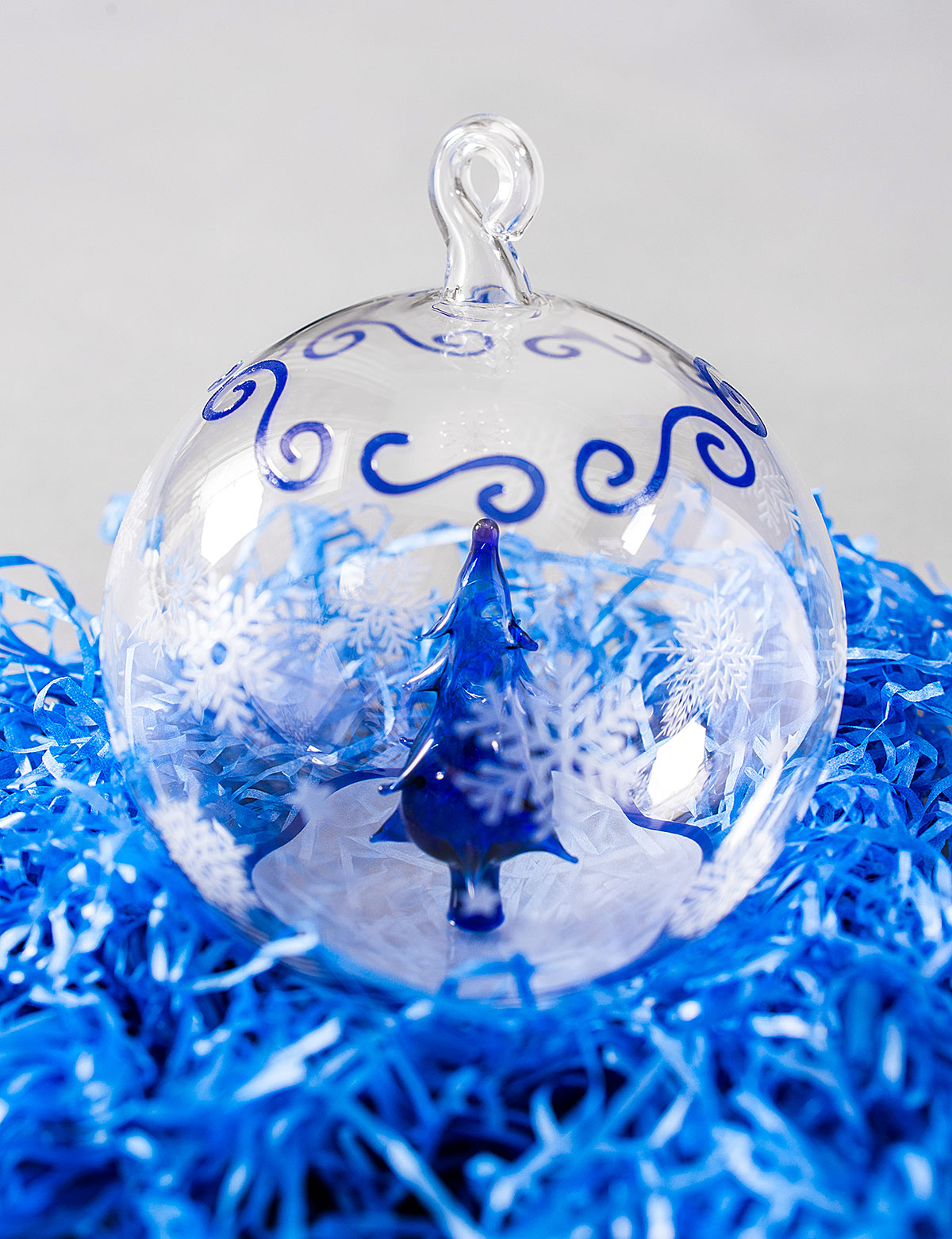 Exclusive handmade Christmas toy. Glass Christmas ball as a New Year's gift to Altbank bank VIP customers.