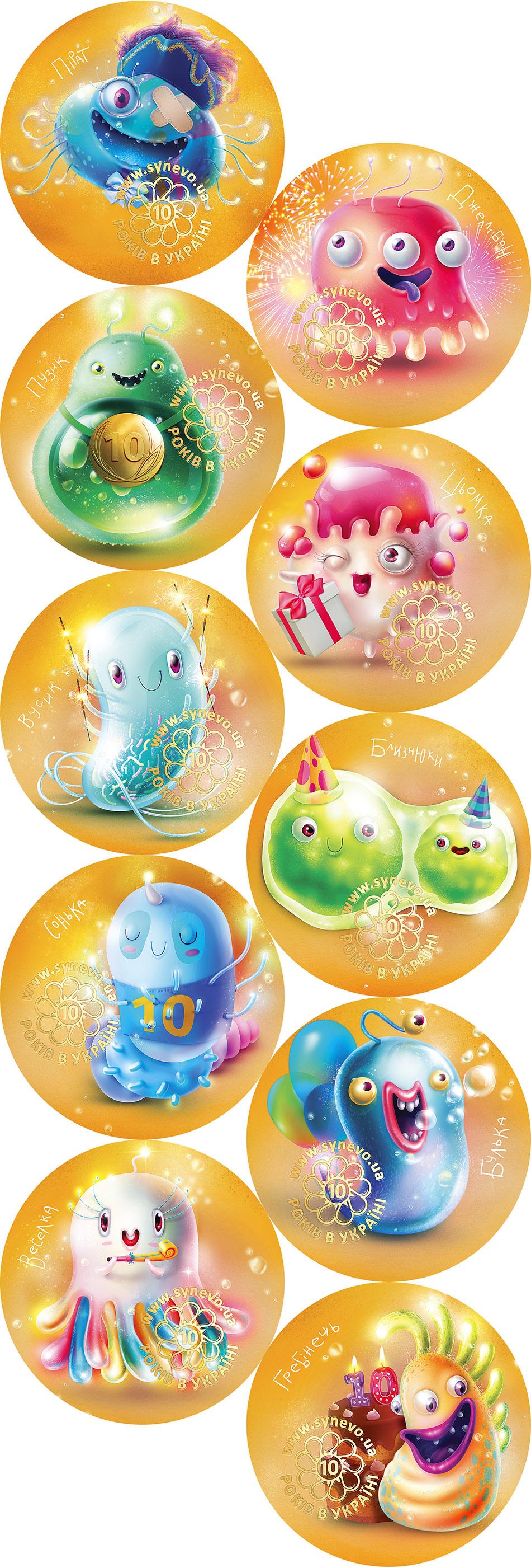 Праздничные иллюстрации микробов. Сувенирные магниты для детей от медицинской лаборатории «Синэво» в Украине.