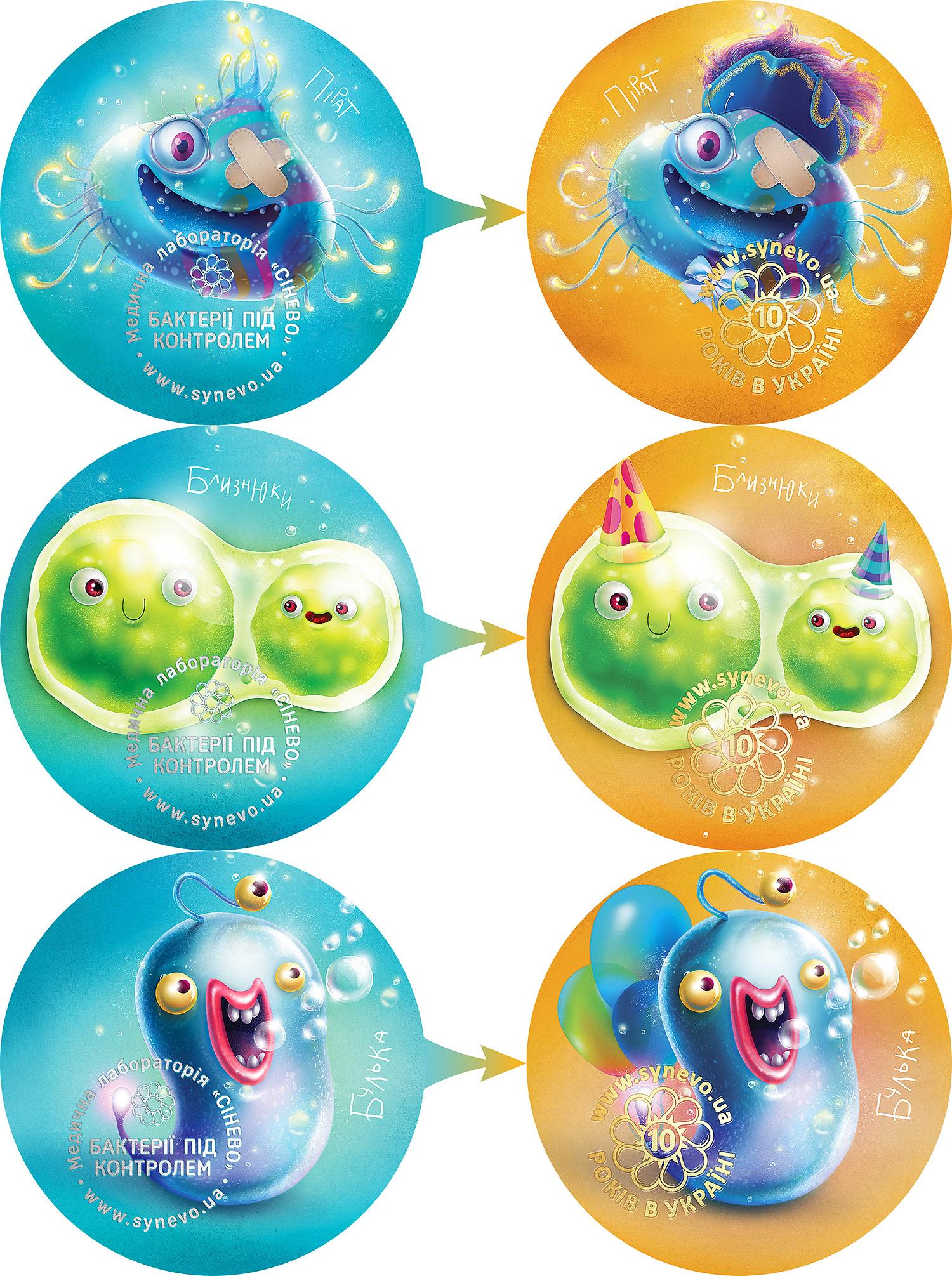Редизайн корпоративных персонажей. Веселые микробы для детей, иллюстрации бактерий. Дизайн сувенирных магнитов «Синэво».