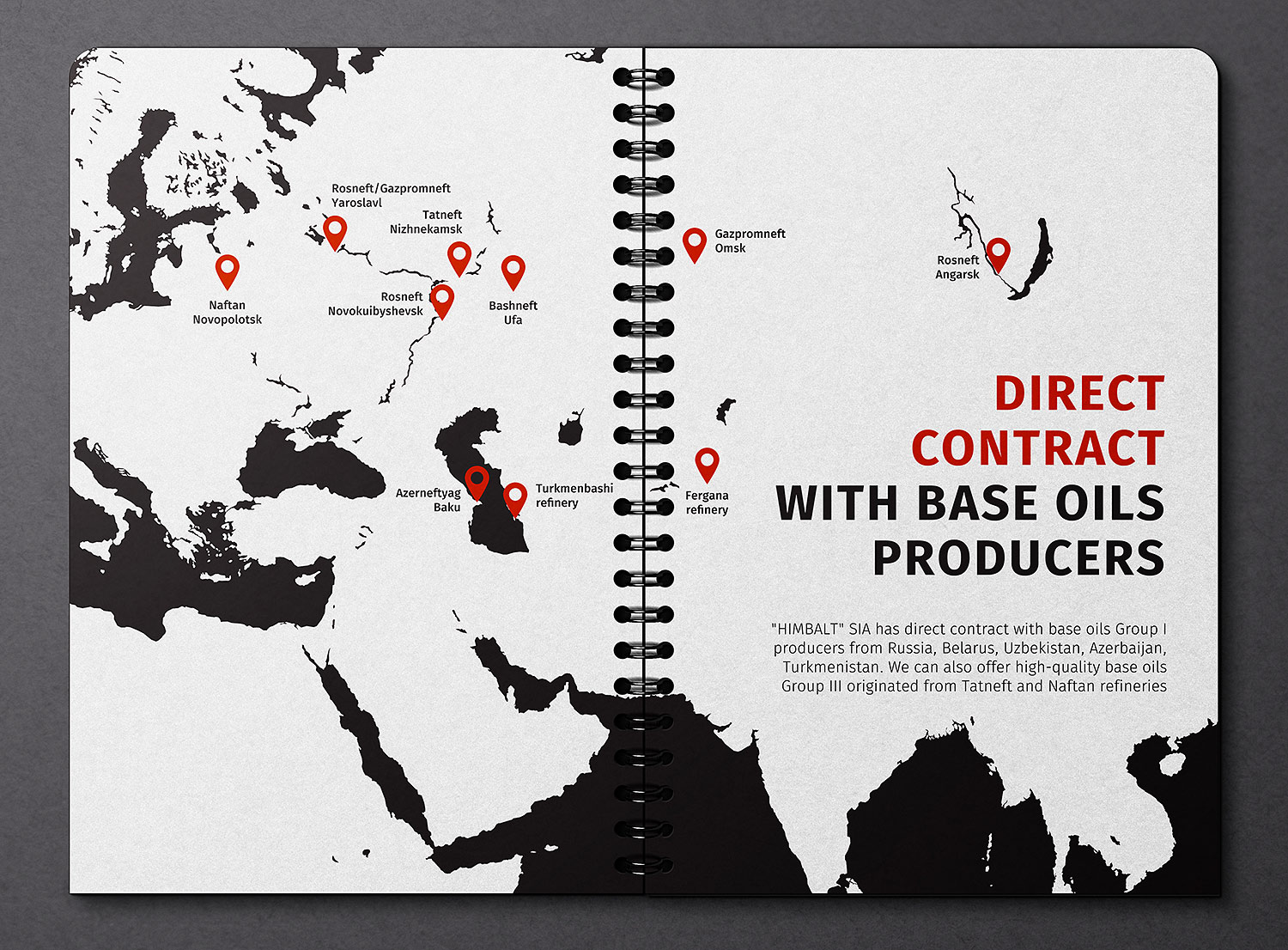 Himbalt company presentation design. Direct contract with base oils producers.
