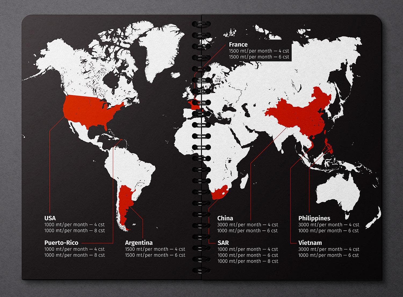 Презентация на черной металлической пружине. Дизайн и верстка презентации компании Himbalt (Химбалт), карта поставок базовых масел.