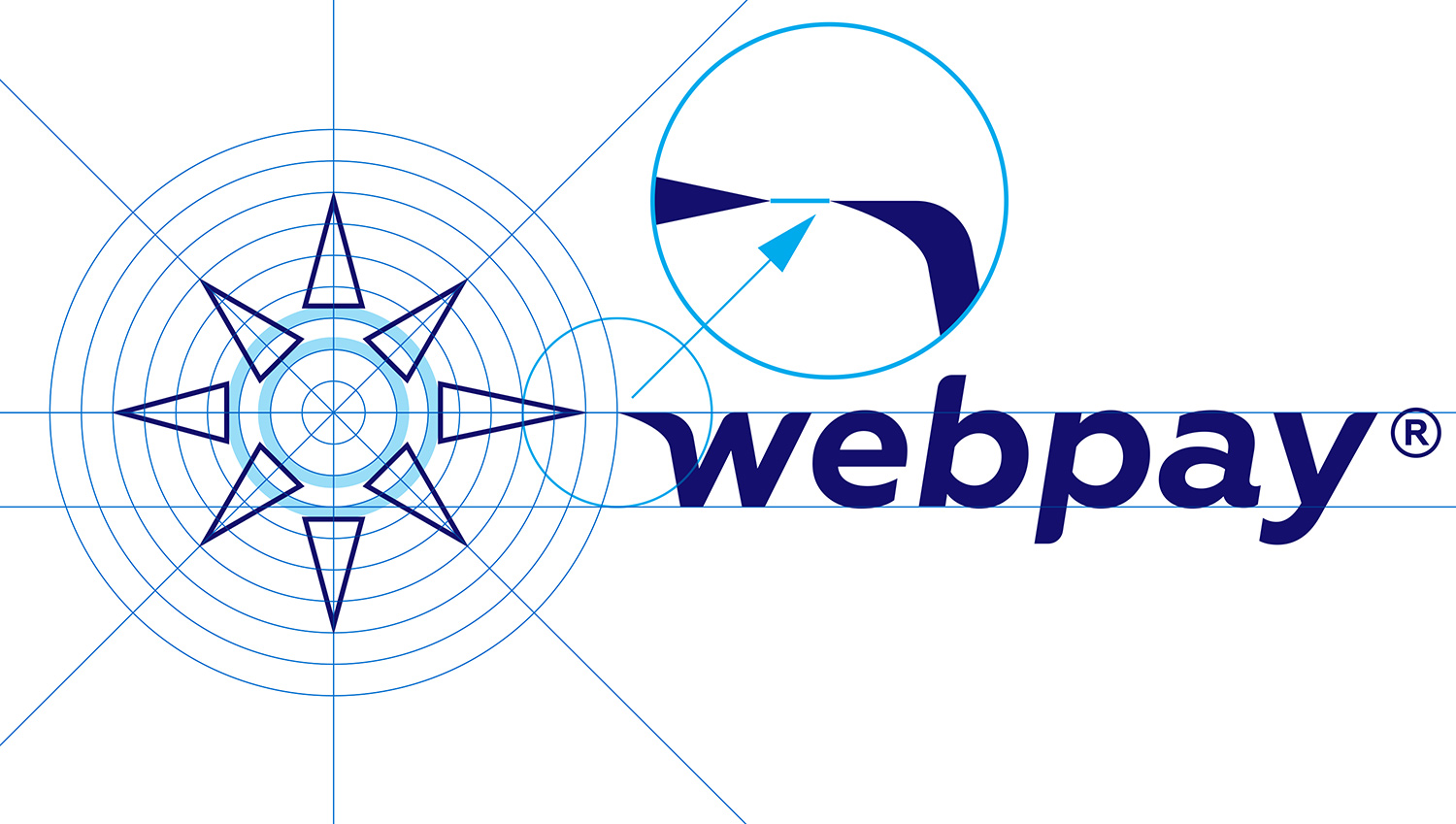 Webpay logo idea and design, graphic sign construction scheme, and the font style for the company name.