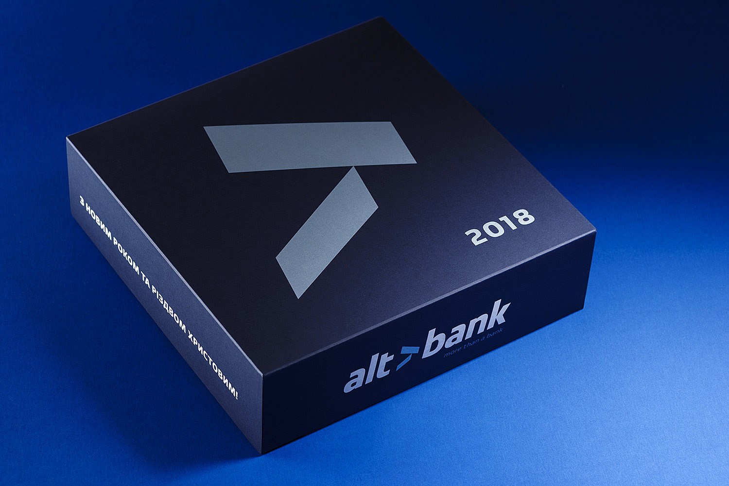 The designer cardboard box for chocolate with Altbank's logo.