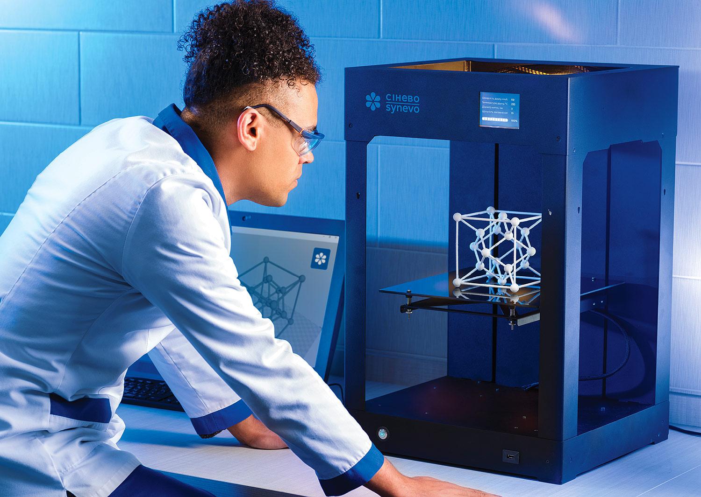 3D принтер в медицинской лаборатории. Трехмерная молекулярная решетка, 3D печать. Креативный календарь «Синэво».