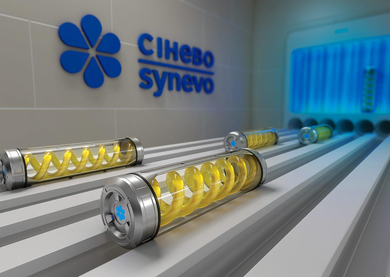 Транспортировка биоматериала в медицинской лаборатории. Синэво — лаборатория будущего. Сюжет для креативного календаря, 3D графика.