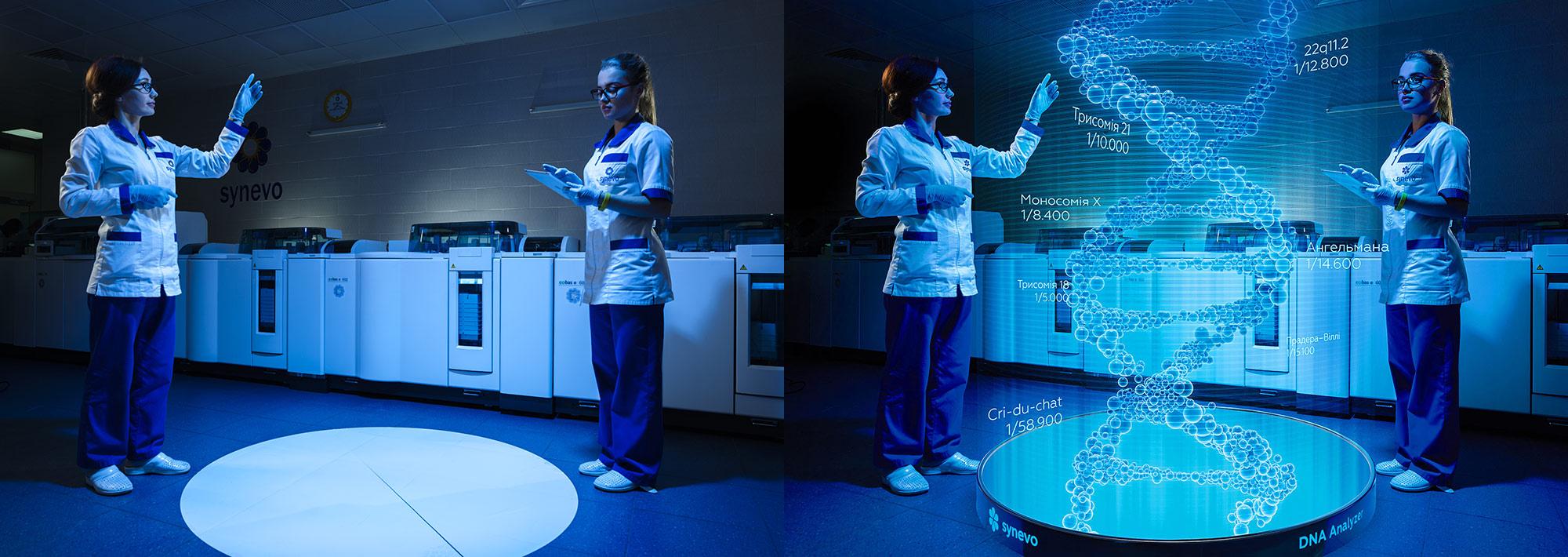 Создание сюжета для креативного календаря медицинской лаборатории «Синэво». ДНК-анализатор 3D.