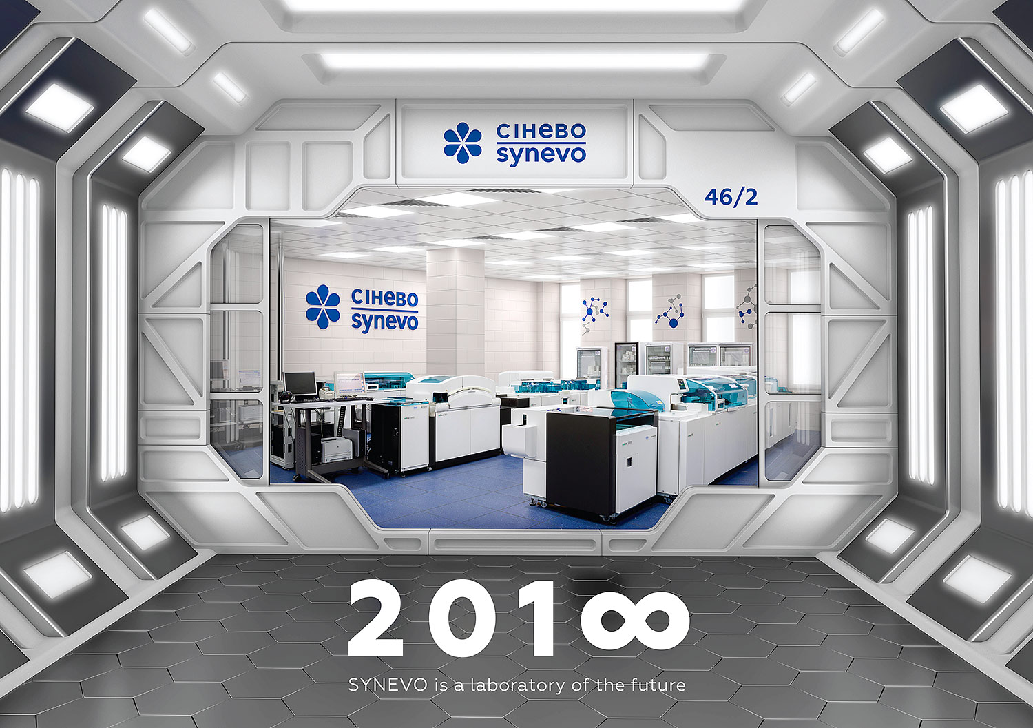 Cover of the calendar of the Synevo medical laboratory. Entrance to the laboratory of the future.