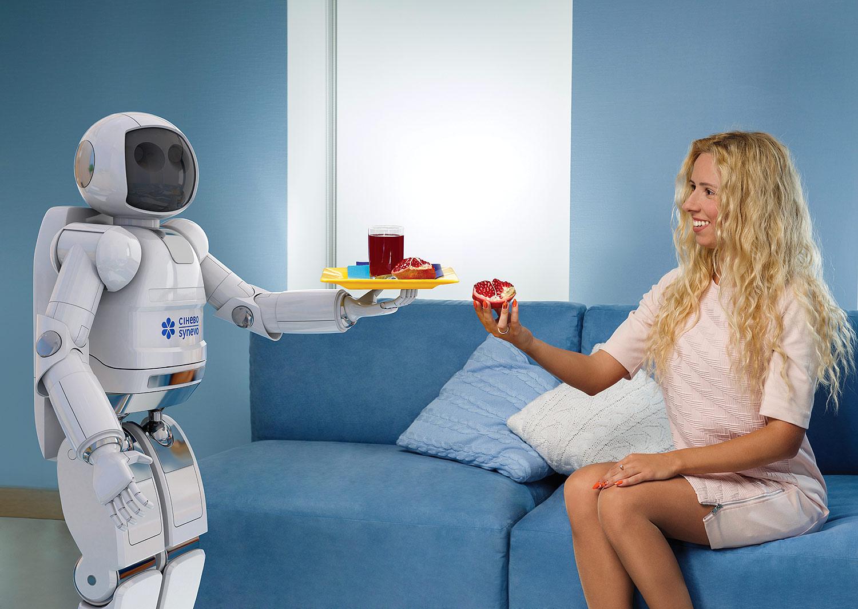 Робот и пациент в медицинской лаборатории. Синэво — лаборатория будущего. Сюжет для креативного календаря, 3D графика.