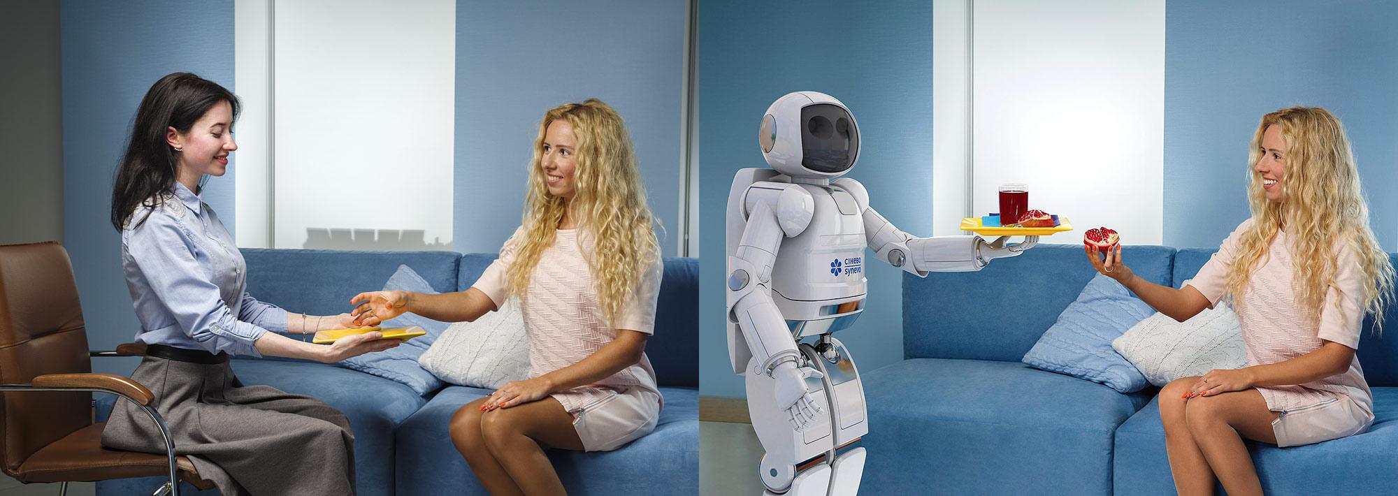 Создание сюжета для креативного календаря медицинской лаборатории «Синэво». Моделирование 3D робота, дополненная реальность.