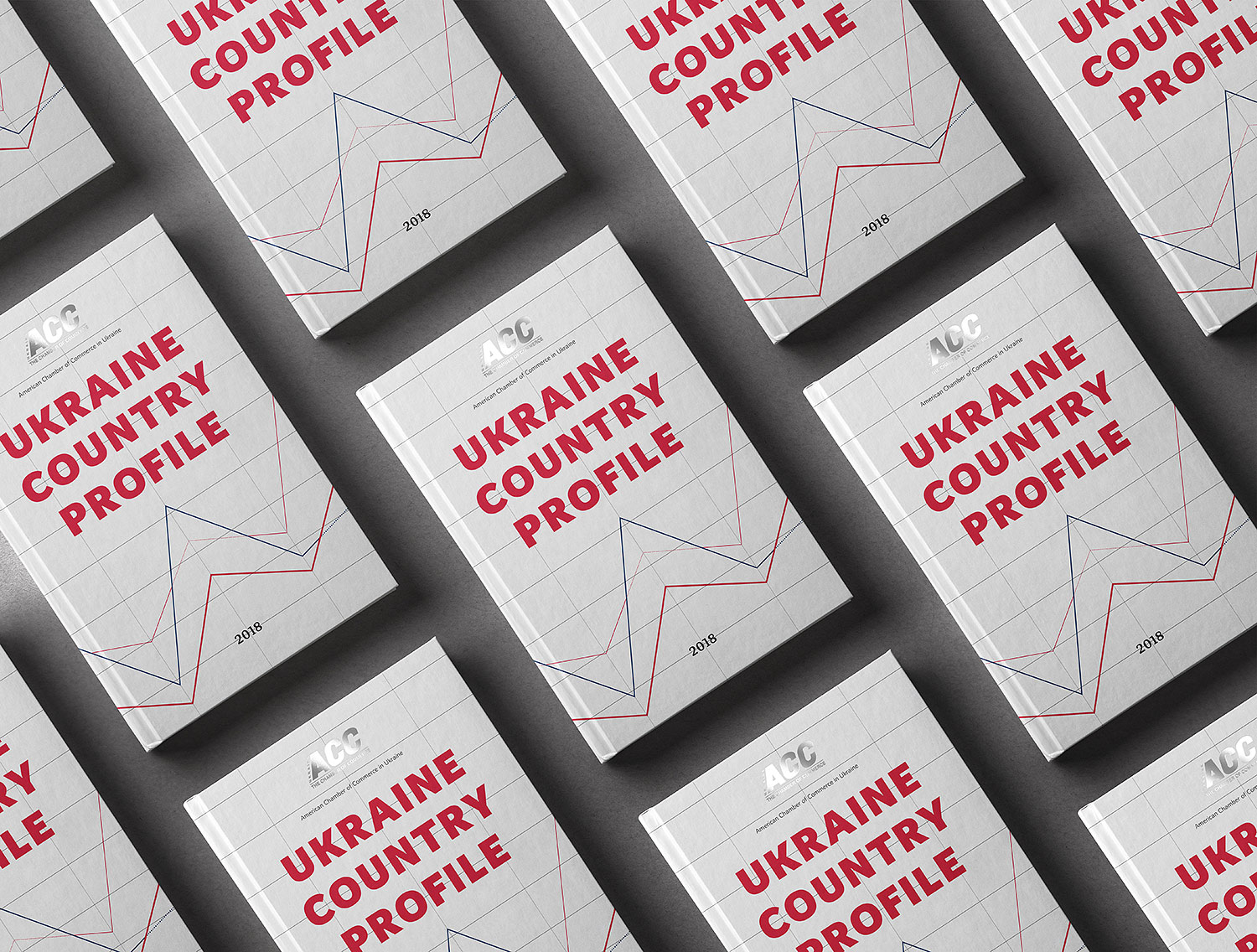 Business design of the cover for financial and analytical publication. Ukraine Country Profile 2018.