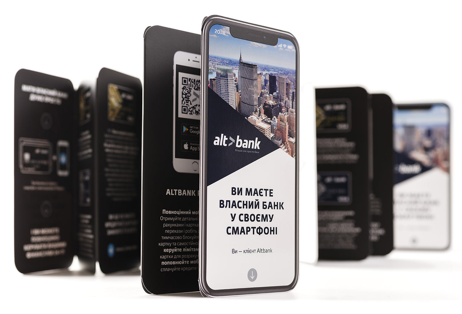 A smartphone-shaped booklet. Layout of the Altbank booklet.