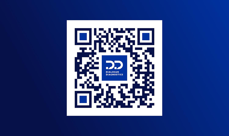 Дизайн QR кода Dialogue Diagnostics. Фирменный QR код с логотипом Диалог Диагностикс.