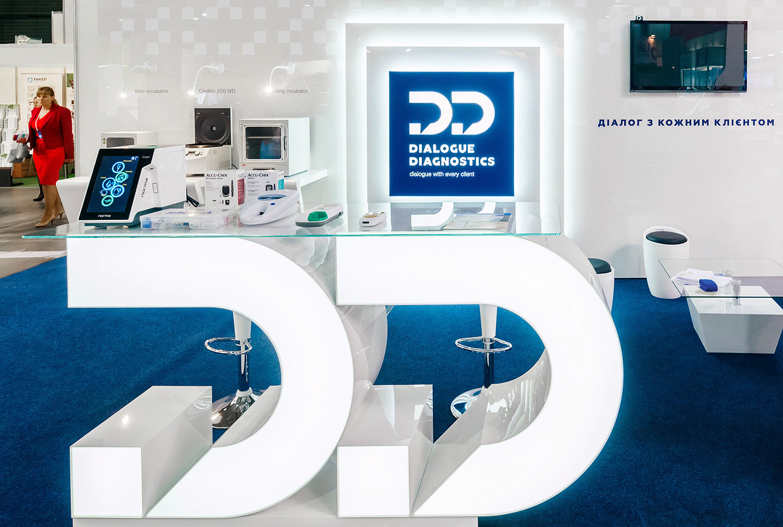 Дизайн выставочного стенда Dialogue Diagnostics (Диалог Диагностикс). Стенд для медицинской выставки.