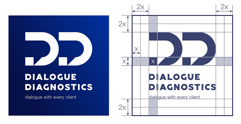 Логотип компании в сфере лабораторной диагностики. Dialogue Diagnostics.