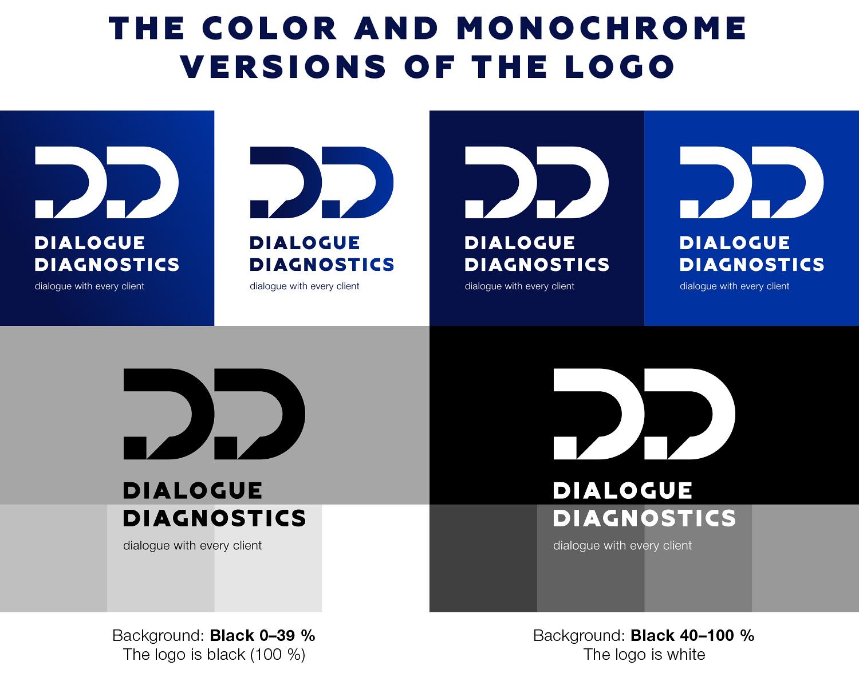 Цветная и монохромная версии логотипа Dialogue Diagnostics (Диалог Диагностикс).