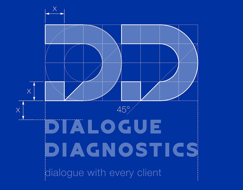 Принцип построения логотипа Dialogue Diagnostics (Диалог Диагностикс). Модульная сетка.
