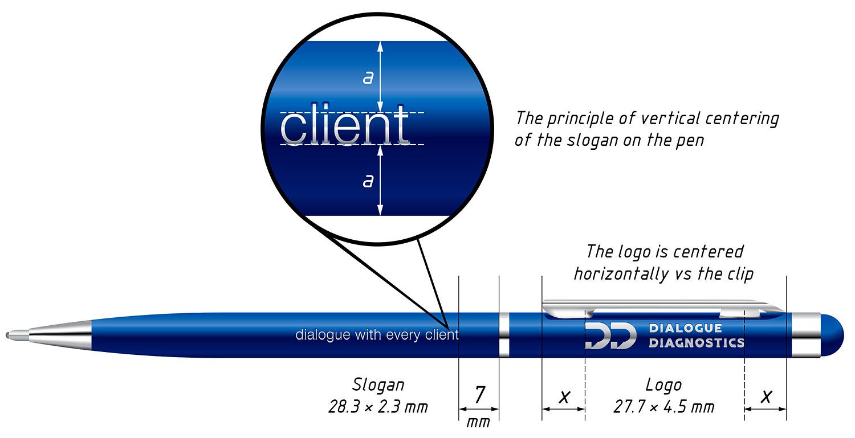 Дизайн фирменной ручки Dialogue Diagnostics. Синяя металлическая ручка с лазерной гравировкой логотипа.