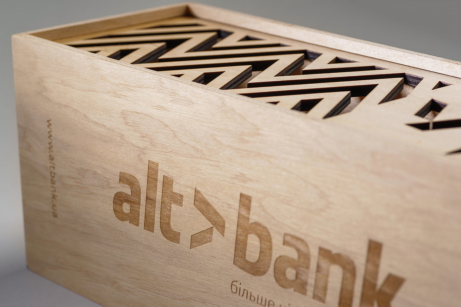 The laser engraved logo on plywood. The plywood box with the Altbank logo.
