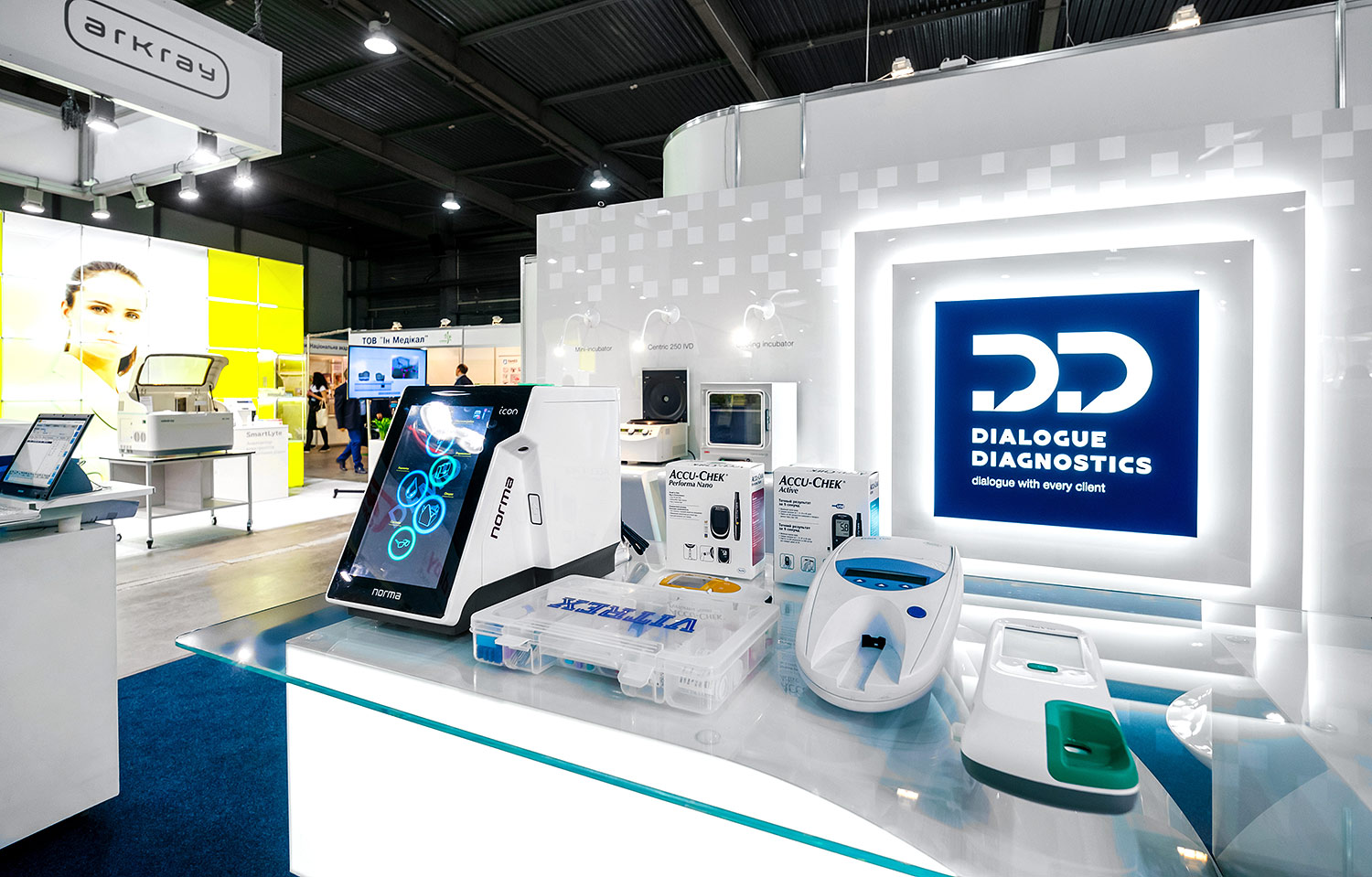 Dialogue Diagnostics exhibition stand. Medical design, white light on the white background.