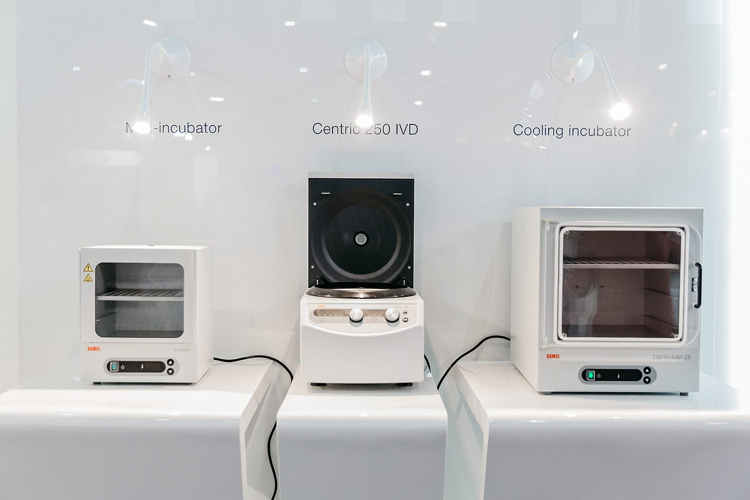 Domel diagnostic equipment. Mini-incubator, Centric 250 IVD, Cooling incubator. The exhibition stand.