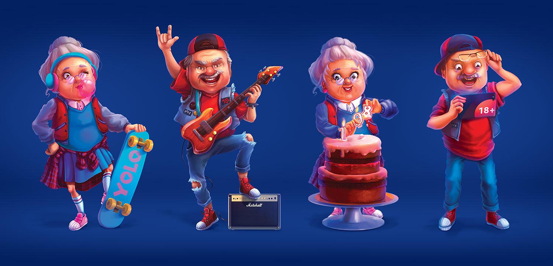 Корпоративные персонажи для рекламы банка. Дизайн персонажей. Крутые депозиты с высокой процентной ставкой Universal Bank (Универсал Банк).