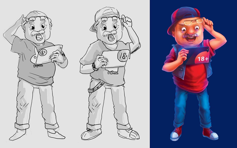 Рекламный персонаж банка Universal Bank (Универсал Банк). Маскот дизайн, дед с планшетом.