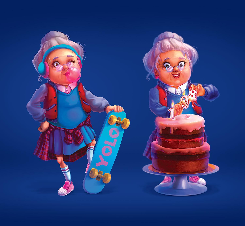 Иллюстрация персонажа для рекламы банка. Бабка со скейтом и бабушка с тортом. Реклама депозитов Universal Bank (Универсал Банк).