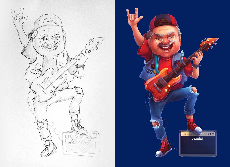 Рисование персонажа. Крутой старик, дед рокер, иллюстрация для рекламы Universal Bank (Универсал Банк). Эскиз карандашом.