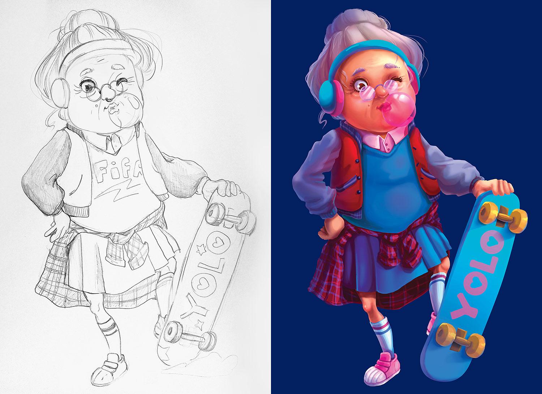 Разработка персонажа для рекламы банка. Разработка маскота. Крутая бабуля со скейтом, иллюстрация и рисунок карандашом.
