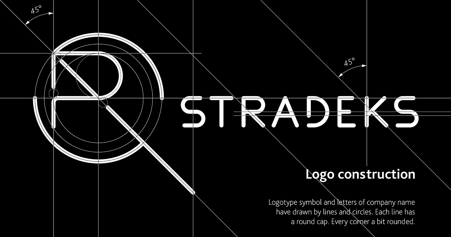 The geometry of the Stradeks logo design. The logo of circles and lines. A compass and a ruler.