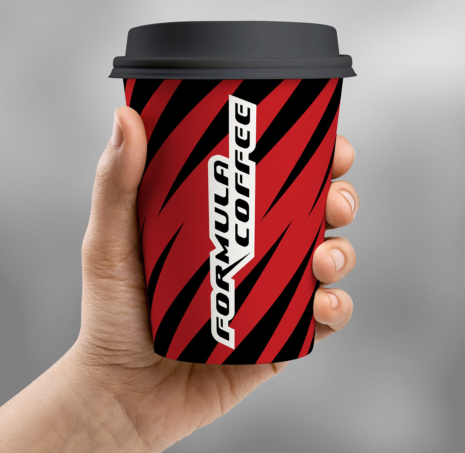 The stylish design of the coffee cup Formula Coffee.